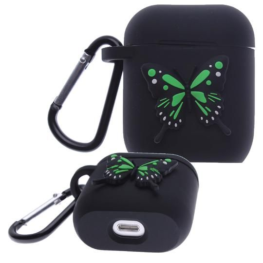 Black Butterfly Air Pod Silicone Case 2D Design