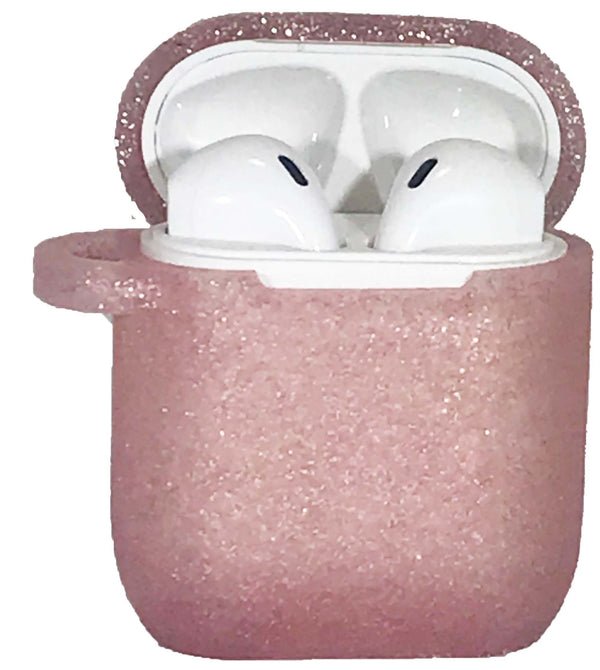 Rose Gold Air Pod Silicone Plain Glitter Case