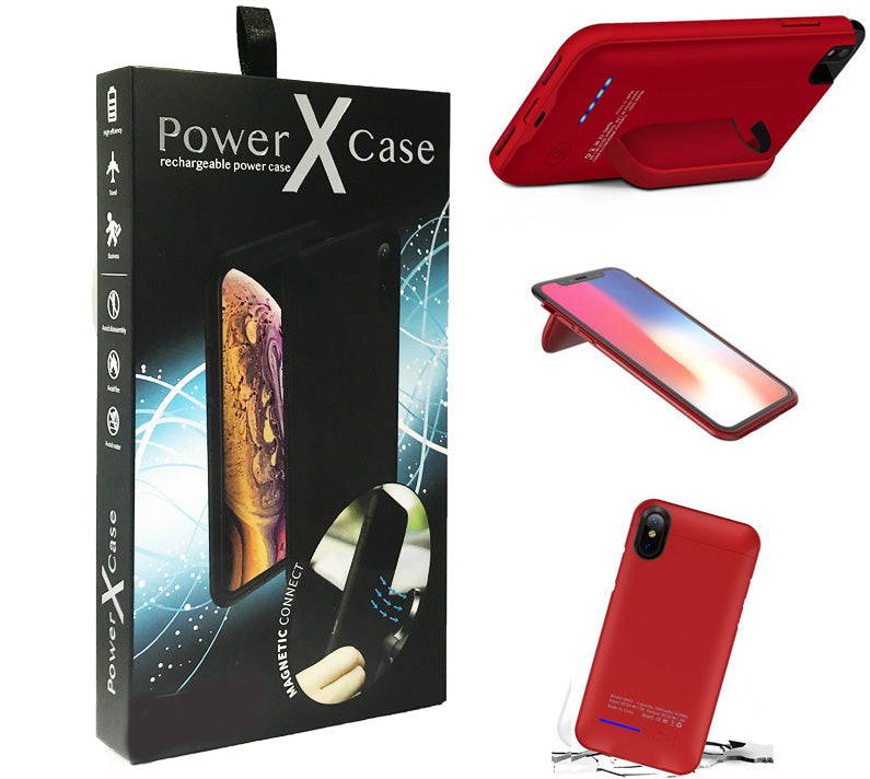 Red iPhone X/XS POWER X Battery Case 4200mAh With Magnetic Kickstand