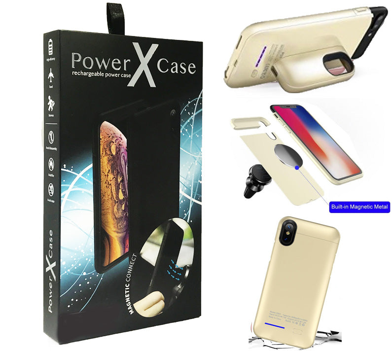 iPhone 8/7/6 POWER X Battery Case 3000mAh With Magnetic Kickstand Gold