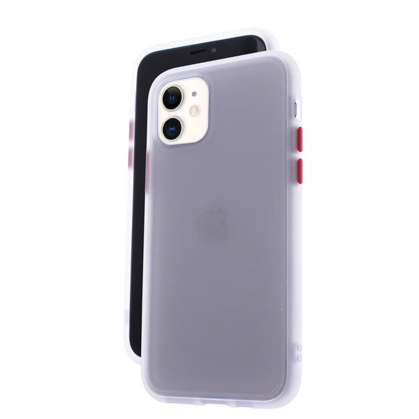 White TPU Frame Red Button Soft Texture iPhone 11