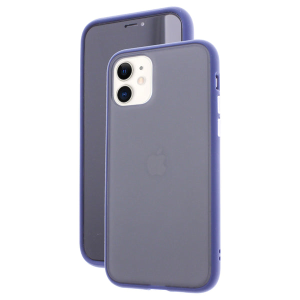 Blue TPU Frame White Button Soft Texture iPhone 11