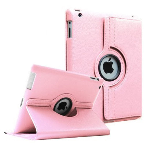 "Light Pink iPad Air 1 / Air 2 / Pro 9.7"" / iPad 9.7"" (2017/2018) PU Leather Folio Folding 360 Case With Rubber Touch Pen Holder"