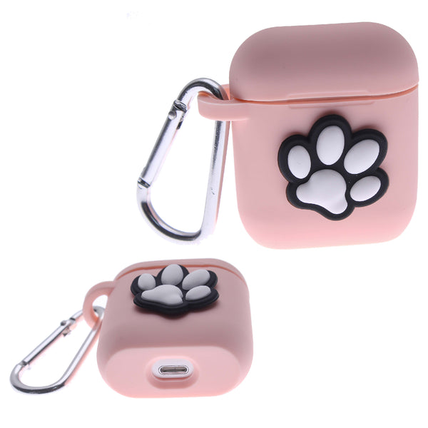 Pink Air Pod Silicone Case 2D Paw Design