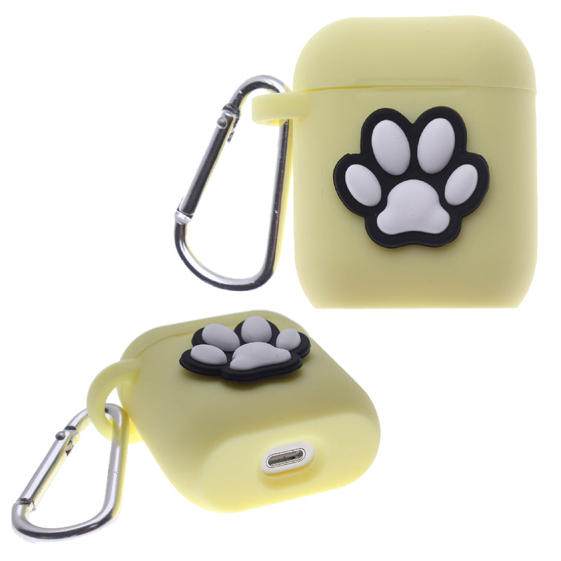 Yellow Air Pod Silicone Case 2D Paw Design