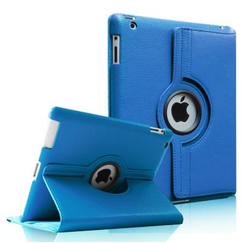 "Light Blue iPad Air 1 / Air 2 / Pro 9.7"" / iPad 9.7"" (2017/2018) PU Leather Folio Folding 360 Case With Rubber Touch Pen Holder"