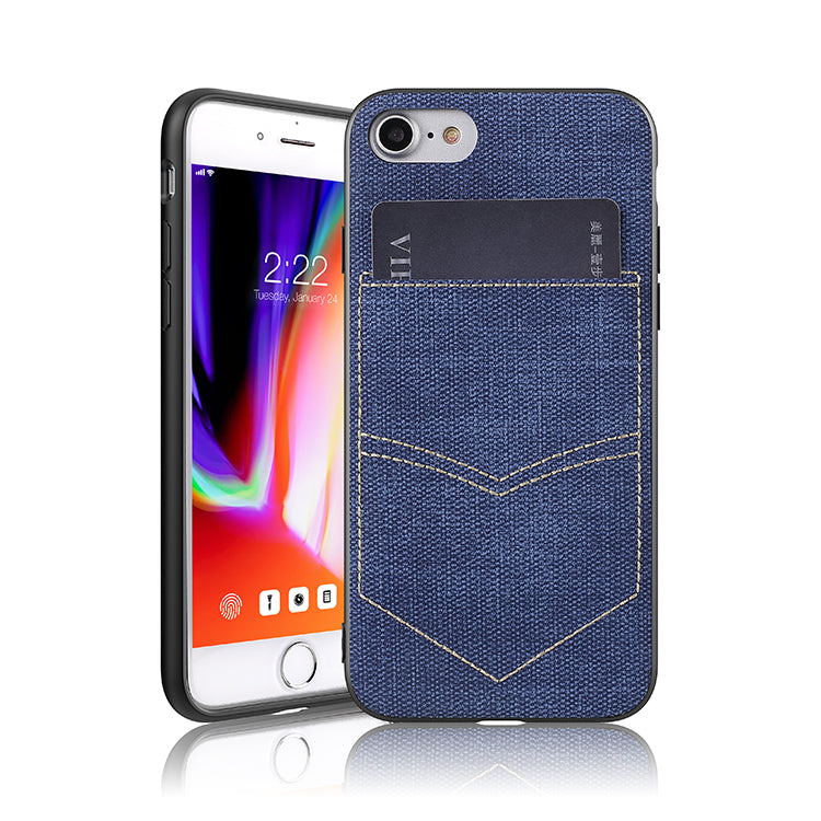 iPhone 8/7 Jeans Case With PocketBlue