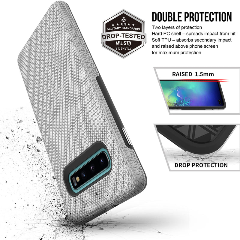 Samsung Galaxy S10 Triangle SILVER Case WITH Package
