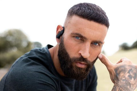ProSport headphones being worn by a male model