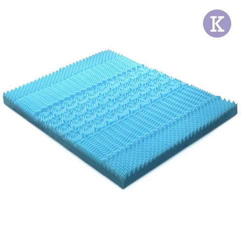 Giselle Bedding King Size 5cm Thick Cool Gel Mattress - Blue