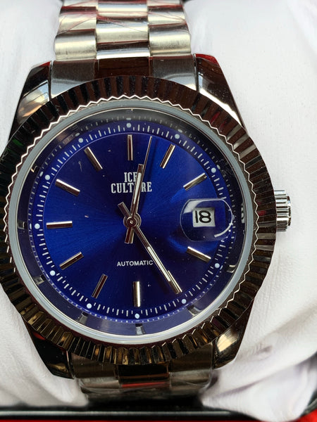 Presidential Silver Band Blue Dial
