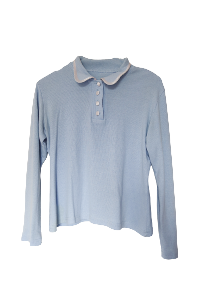Polo manches longues baby blue - T. S