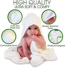 Load image into Gallery viewer, Organic Bamboo Hooded Baby Bath Towel with Free Washcloth - Bamboezor London