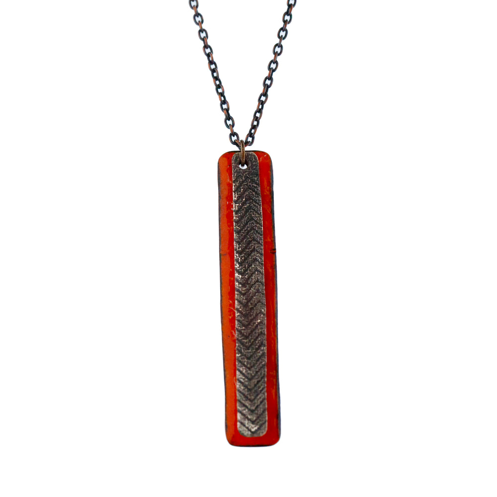 Cartouche Necklace in Cardinal Red