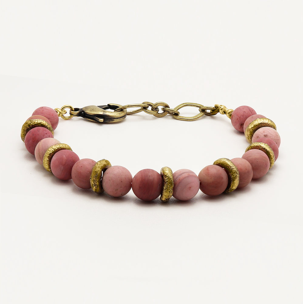 Load image into Gallery viewer, Pink Petrified Rhodonite Bracelet