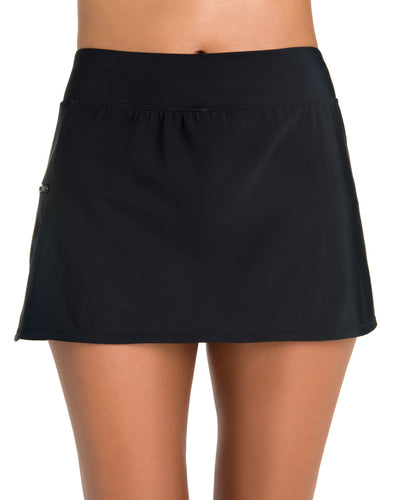 Penbrooke Skort With Zip Pocket Black - Key West Swimwear