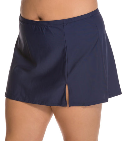 Penbrooke Plus Slide Slit Skirt Navy - Key West Swimwear