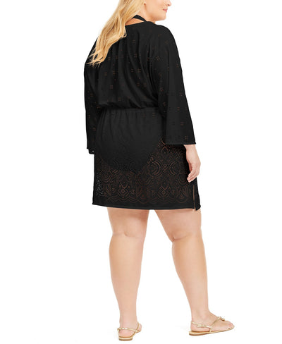 Dotti Plus Gypsy Gem Drawcord Waist Tunic Black - Key West Swimwear