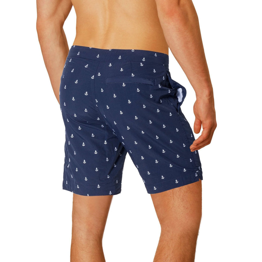 "BOTO Aruba 8.5"" Embroidered Anchors Navy Swim Trunks - Key West Swimwear"