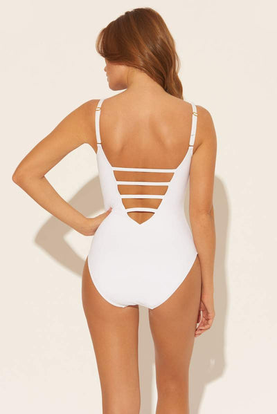 Bleu Rod Beattie Plunge Mio Hole In One White - Key West Swimwear