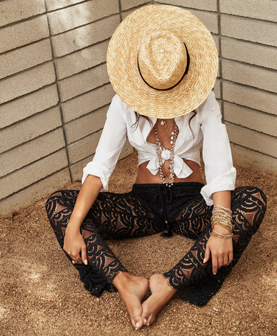 PilyQ Malibu Lace Pant Midnight - Key West Swimwear