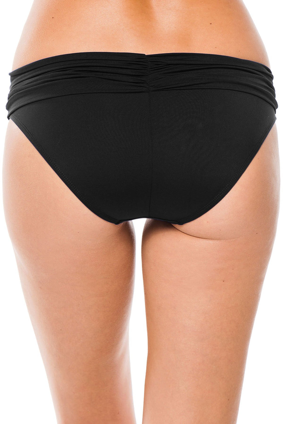 La Blanca Shirred Band Hipster Bottom Black - Key West Swimwear