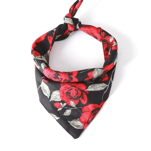 Rose Flower Cotton Bandana (Black)