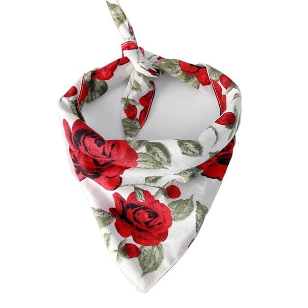 Rose Flower Cotton Bandana (White)
