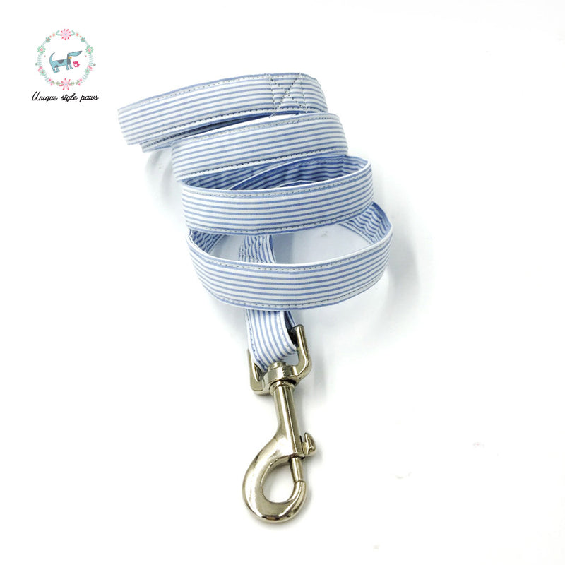 Blue Stripes Bowtie Collar & Leash