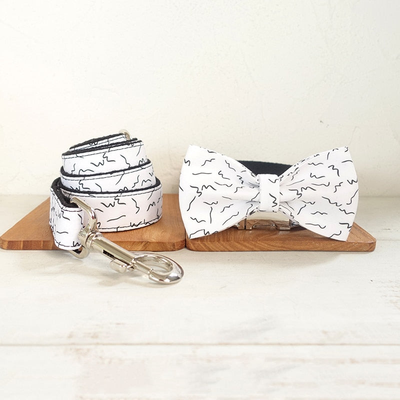 White Dog Bow Collar and Leash
