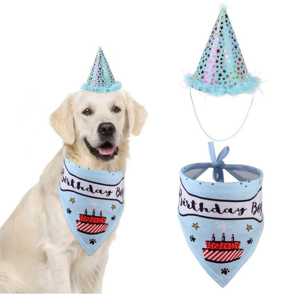 Dog Birthday Bandana with Hat Set