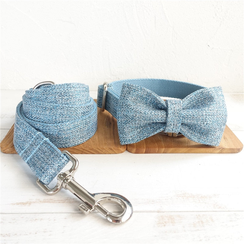 Personalized Formal/Suit Dog Collar Bow Tie and Leash