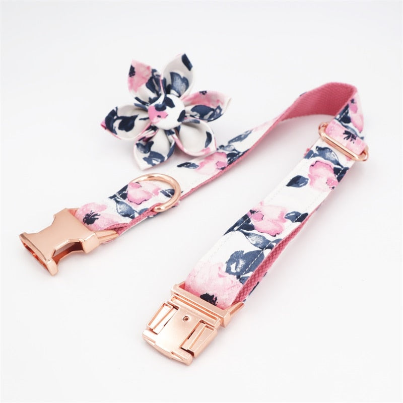 Pink Floral Dog Collar & Leash
