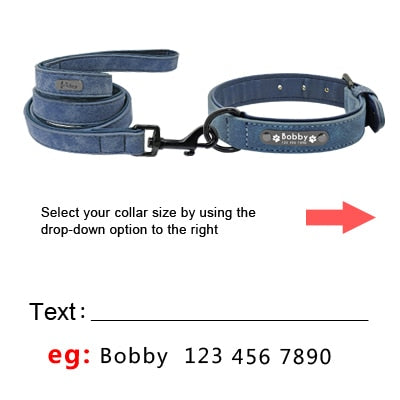 Personalized Leather Dog Collar with Leash