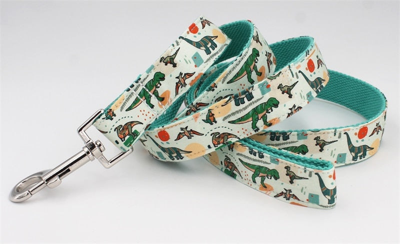 Dino Print Dog Collar Bow Tie and Leash