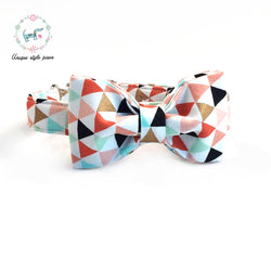 Geometric Triangles Bowtie Dog Collar & Leash