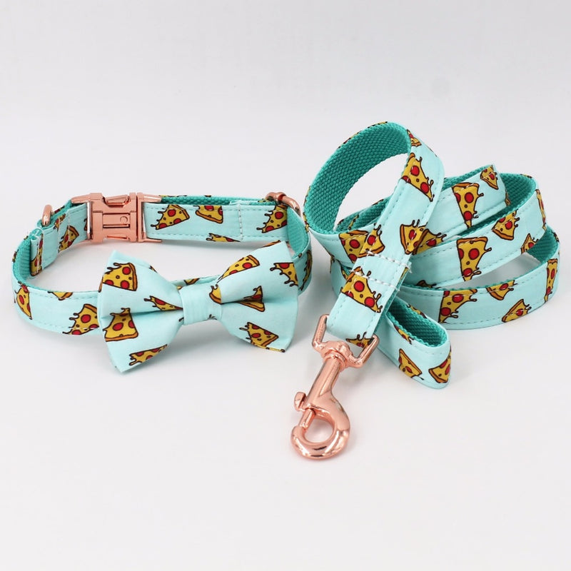 Pizza Pattern Dog Collar and Bow Tie