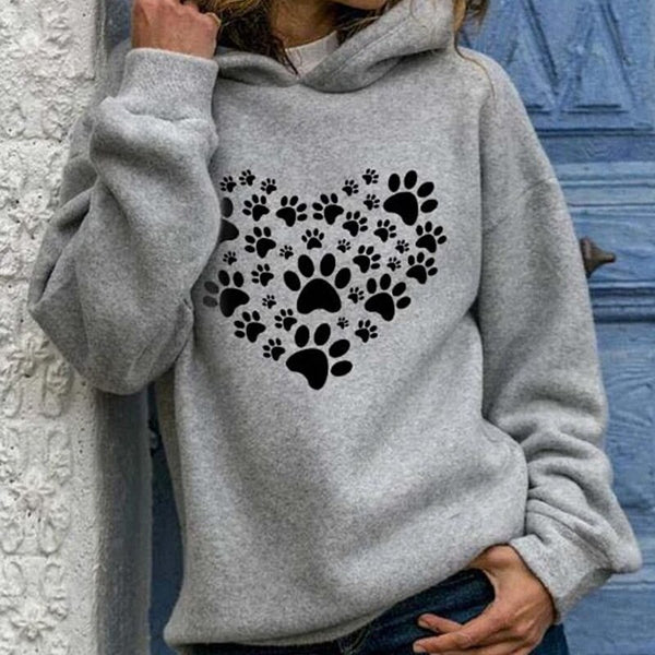 Autumn Heart Paw Print Women Sweatshirt Hoodie