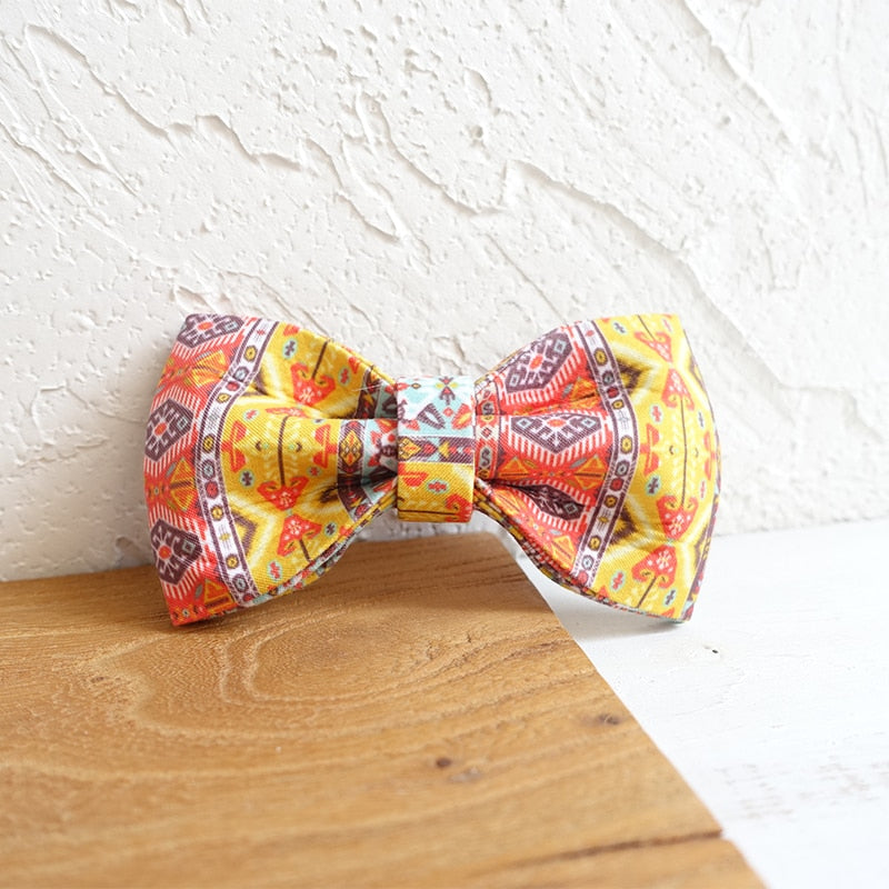 Bohemian Dog Collar with Bow and Leash Set