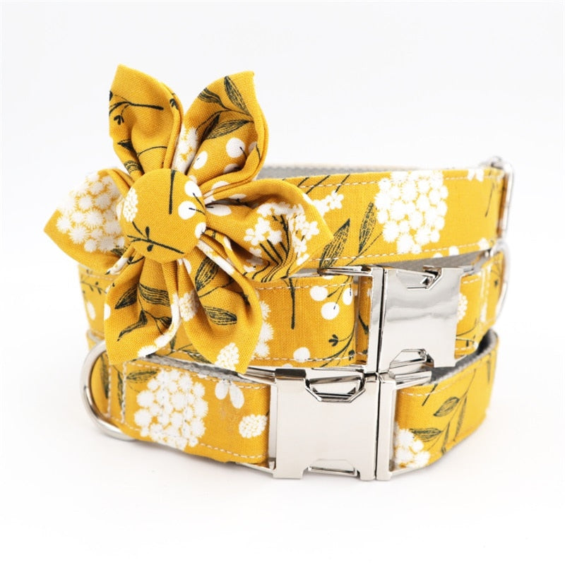Yellow Floral Dog Collar & Leash