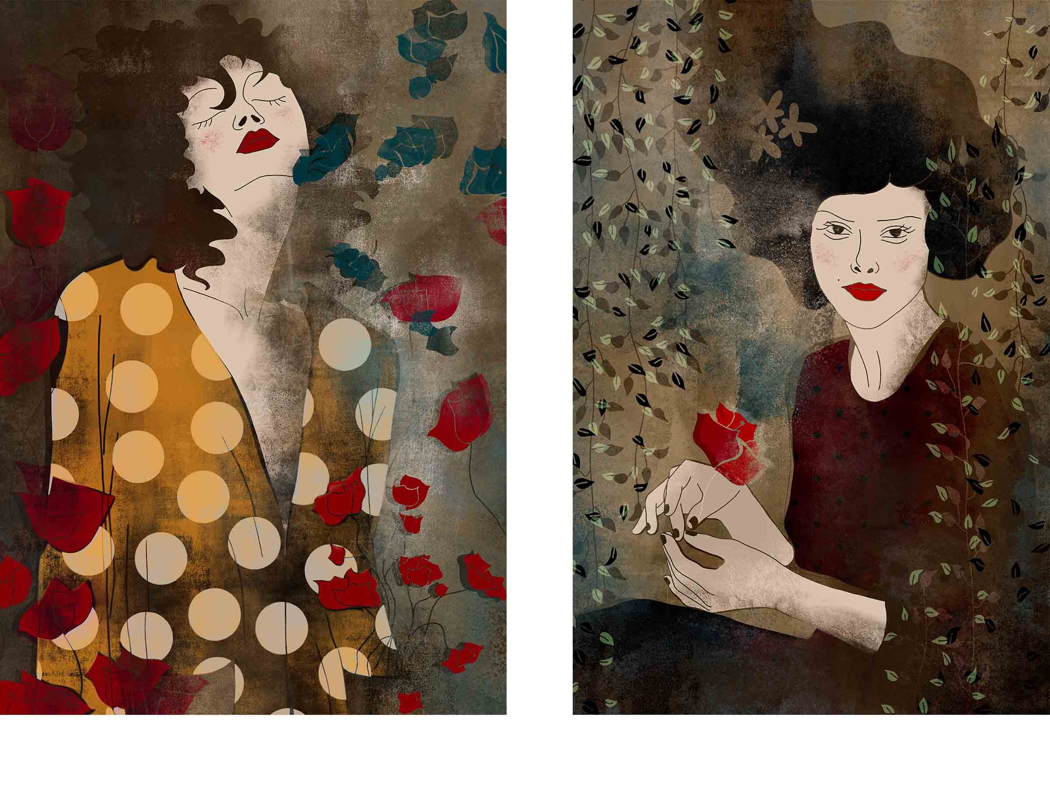 two separate stylized illustrated female portraits, both surrounded with flowers, both in some kind of an ecstasy