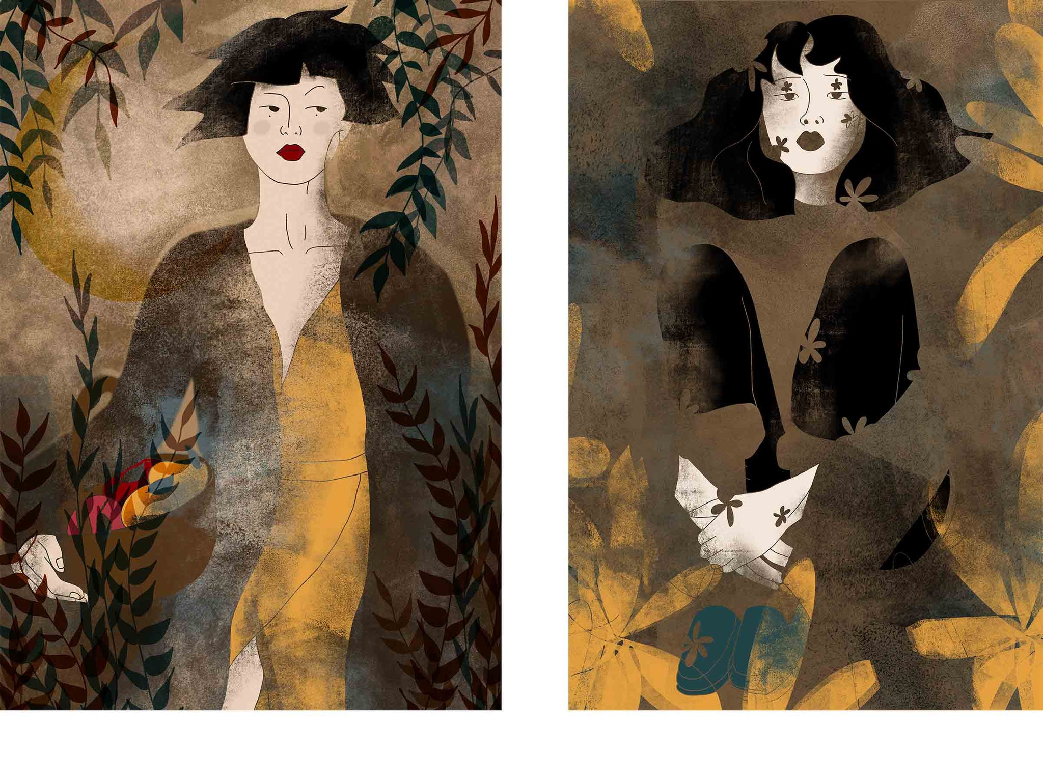 two separate stylized illustrated female portraits, both surrounded with flowers, the one on the left has a basket of fruit in her hand, the one on the right is Asian and is sitting on a small wooden chair