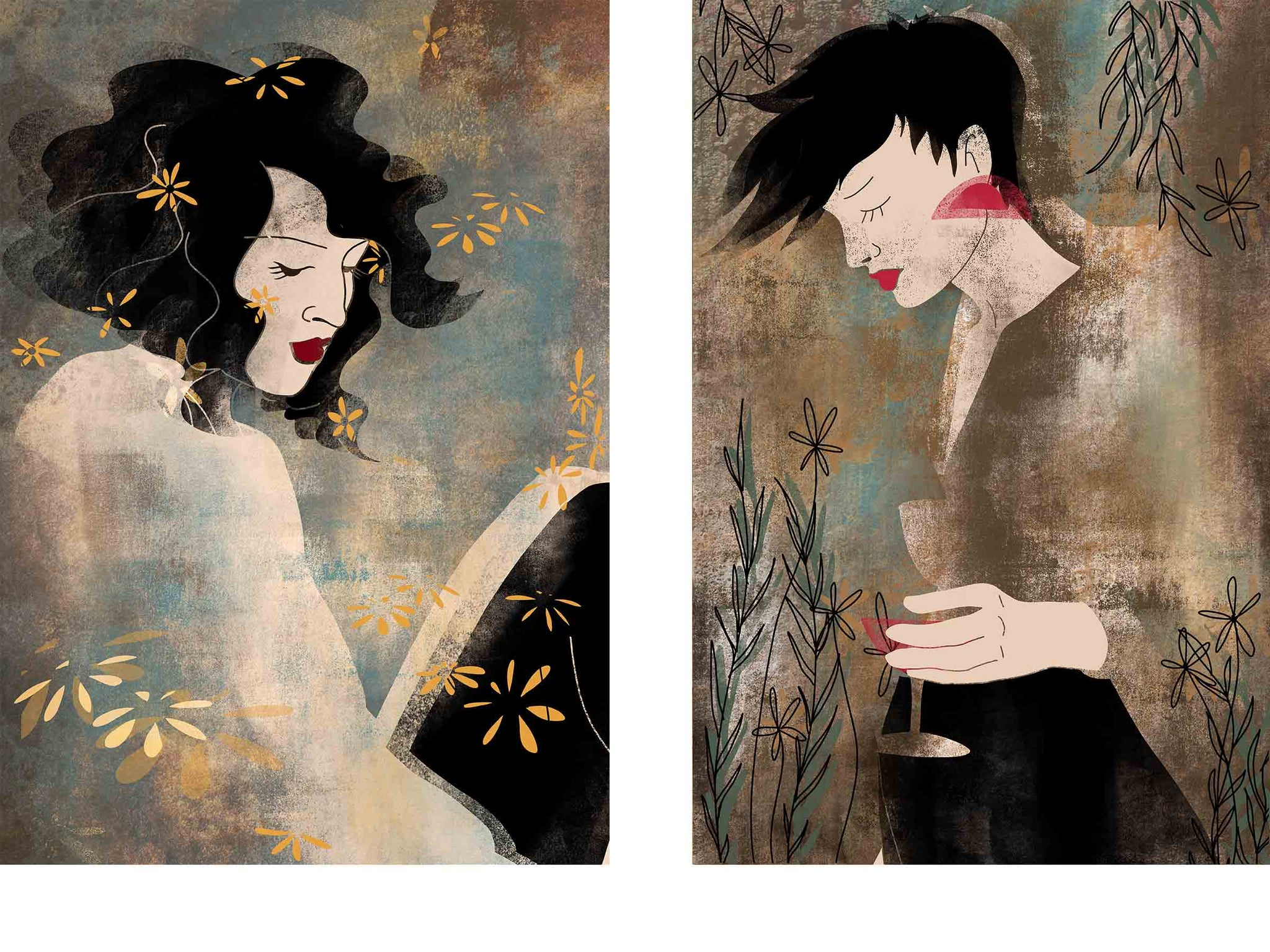 two separate stylized illustrated female portraits, both surrounded with flowers, the one on the left is sitting and looking down, the one on the right has a glass of red wine in her hand