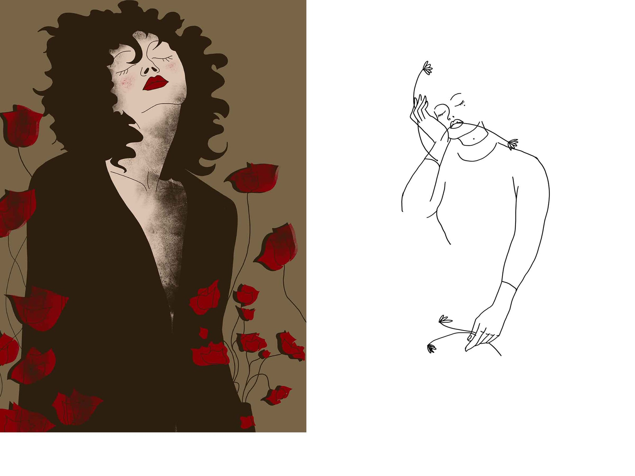 two separate stylized illustrated female portraits, the one on the left is surrounded with flowers, the one on the right is drawn just with a line
