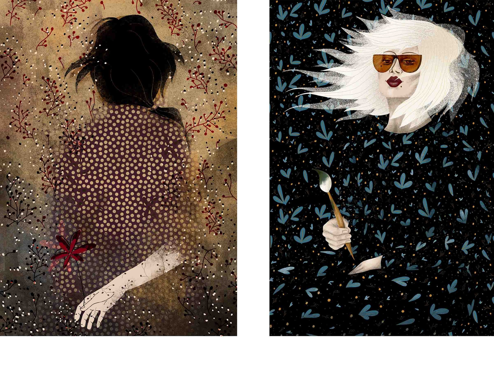 two separate stylized illustrated female portraits, both surrounded with flowers, the one on the left is showing her back and is holding a flower in her hand, the one on the right is wearing sunglasses and is holding a brush