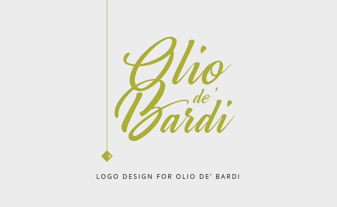 "a logo design image of ""Olio de'Bardi"" brand. A typographic logo design. Simple, clean, modern, trendy, minimalist logo design example. Text on the image says: ""logo design for Olio de'Bardi"""