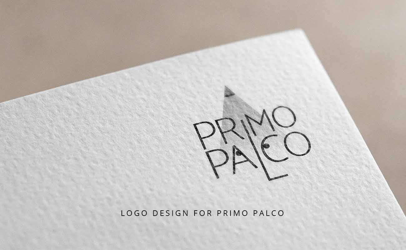 "Logo design image for ""Primo Palco"". A typographic logo design"