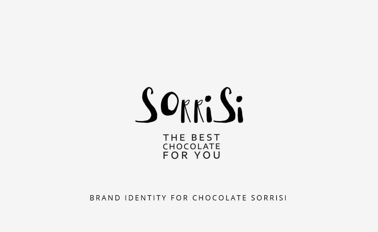 "Typographic logo ""Sorrisi - the best chocolate for you"", another writing on the image says: ""Brand identity for chocolate Sorrisi"""