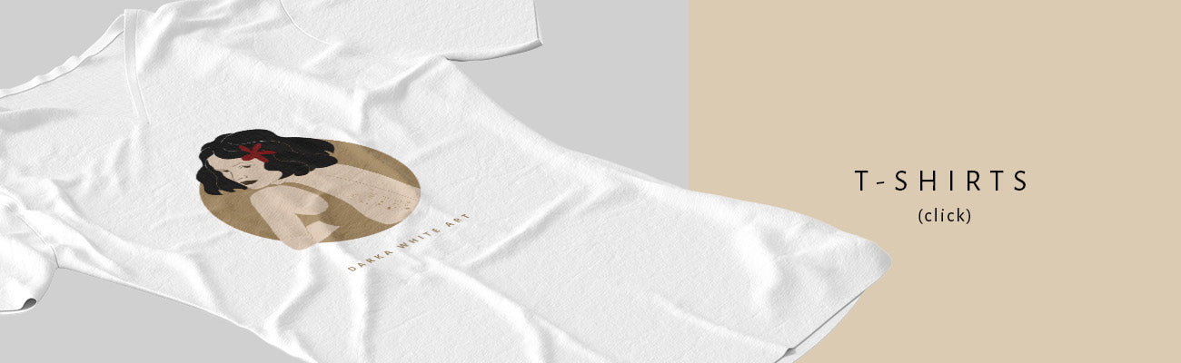 """A T-shirt with an illustrated print of a woman's portrait by Darka White. On the right side of the image a sign """"T-shirts""""."""