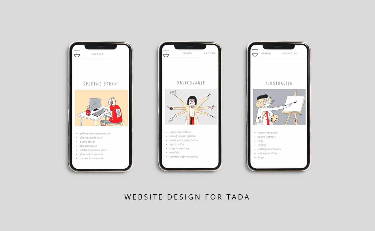 Three Iphones in a row displaying website design for Tada